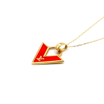 Real Gold LV Red Necklace N1142