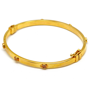 Real Gold CR Debossed Screw Stone Bangle (SIZE 17) BA1177