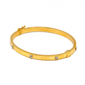 Real Gold 2 Color CR Debossed Screw Bangle (SIZE 17) BA1178