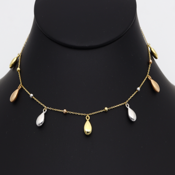 Real Gold 3 Color Dangler Hanging Oval with Beads Necklace 3229 N1283