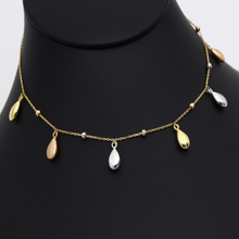 Real Gold 3 Color Dangler Hanging Oval with Beads Necklace 3229 N1283 - 18K Gold Jewelry