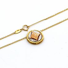 Real Gold 3 Color Round Detachable and Movable Two Sided Pendant Necklace 2731 N1284 - 18K Gold Jewelry