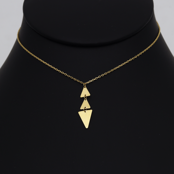 Real Gold 3 Triangle Plain Adjustable size Necklace 3391 N1287