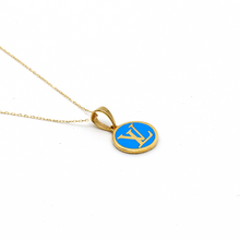 Real Gold LV Blue Necklace N1148 - 18K Gold Jewelry