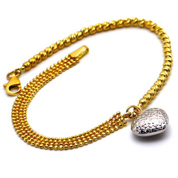 Real Gold 2 Color 3D Heart Ball and Beads Bracelet 2401 BR1369