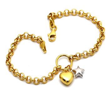 Real Gold 2 Color 3D Heart Star Bracelet 1606 BR1371