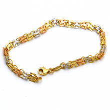 Real Gold 3 Color Twisted Plate Design Bracelet 3185 BR1373 - 18K Gold Jewelry