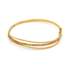 Real Gold 3 Color Balls Bangle 2470 (Size 19.5) BA1248 - 18K Gold Jewelry