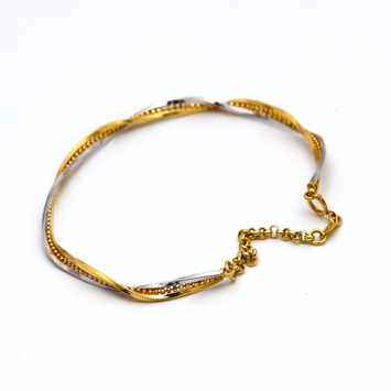 Real Gold 2 Color Beads Chain Bangle 2407 (Size 18.5) BA1249