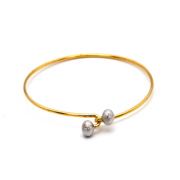 Real Gold 2 Color Plain Ball Twist Bangle 0165 (Size 17.5) BA1250