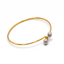 Real Gold 2 Color Plain Ball Twist Bangle 0165 (Size 17.5) BA1250 - 18K Gold Jewelry