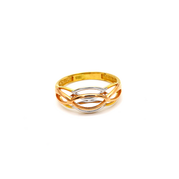 Real Gold 3 Color Oval Layered Ring 6036 (SIZE 6.5) R1665