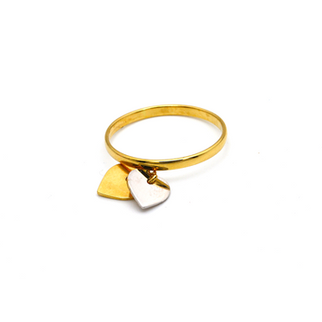 Real Gold 2 Heart 2 Color Dangler Ring 2912 (SIZE 6.5) R1669