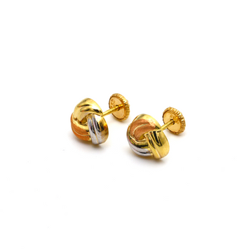 Real Gold 3 Color Twisted Screw Earring Set 0007/11 K1227