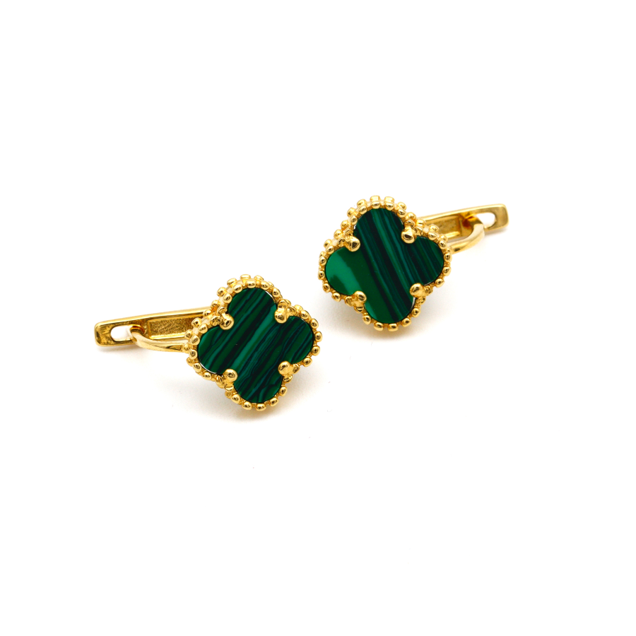 Real Gold VC Green Press M Earring Set E1483