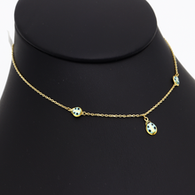 Real Gold 3 Beetle Turquoise Choker Necklace 1917/4 K1229 - 18K Gold Jewelry