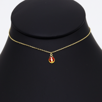 Real Gold Beetle Red Choker Necklace 1912/1 K1230