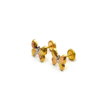 Real Gold 3 Color Textured Butterfly Screw Earring Set  0008/11 K1231