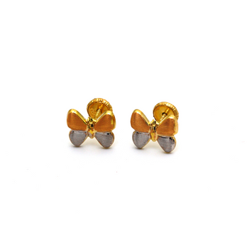 Real Gold 3 Color Silk Butterfly Screw Earring Set 0008/11 K1232