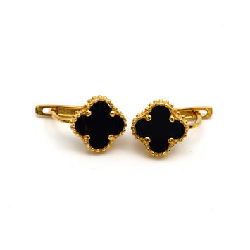 Real Gold VC Black M Press Earring Set E1487