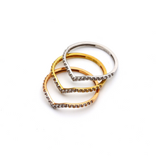 Real Gold V Shape Ring Set (Rose + Yellow  + White Gold)  (SIZE 7.5) SET 1029 - 18K Gold Jewelry