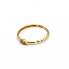 Real Gold Stone Oval Ring (SIZE 7.5) R1456 - 18K Gold Jewelry