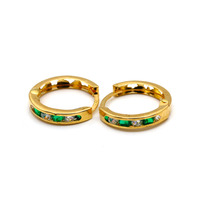 Real Gold Round Green Stone M Earring Set E1492