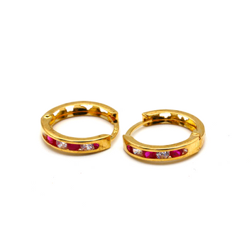 Real Gold Round Red Stone M Earring Set E1494
