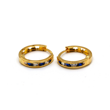 Real Gold Round Blue Stone M Earring Set E1495