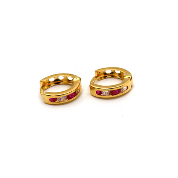 Real Gold Small Round Red Stone Earring Set E1496