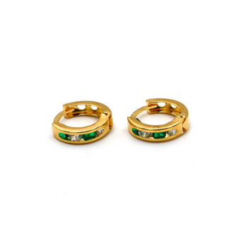 Real Gold Small Round Green Stone Earring Set E1497