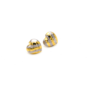 Real Gold Small 2 Color Heart 0090/2 Earring Set E1500