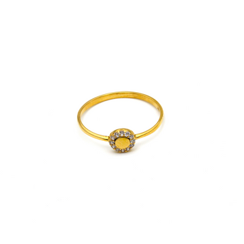 Real Gold Round Stone Ring (SIZE 7) R1470