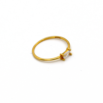 Real Gold Rectangle Pearl Stone Ring (SIZE 7) R1476
