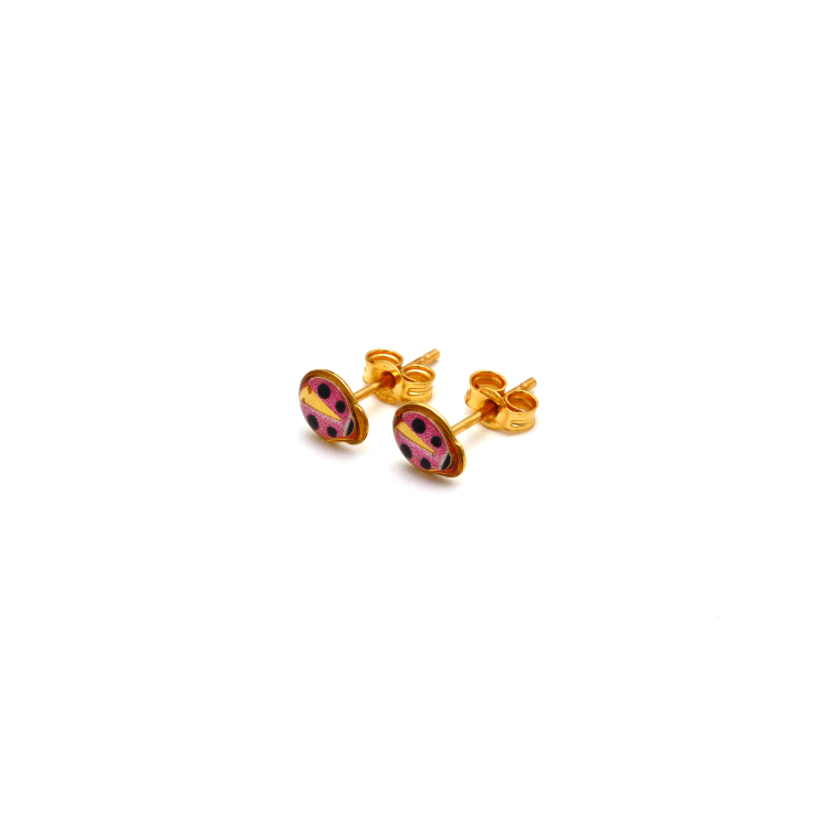 Real Gold Small Beetle Earring Set 0157/3 K1051