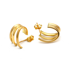 Real Gold 3 Plain Round Hoop Earring Set E1536 - 18K Gold Jewelry
