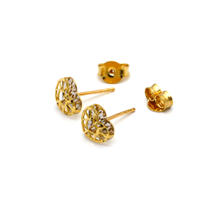 Real Gold Small 2 Side Heart Earring Set E1538