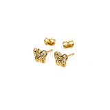 Real Gold Small 2 Side Butterfly Earring Set E1540