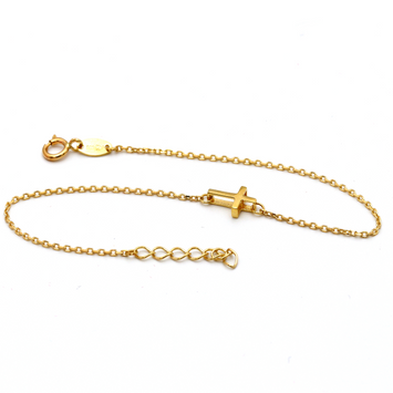 Real Gold Cross Adjustable Size Bracelet BR1219