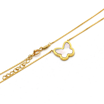Real Gold Butterfly Adjustable Size Necklace 0265 N1157