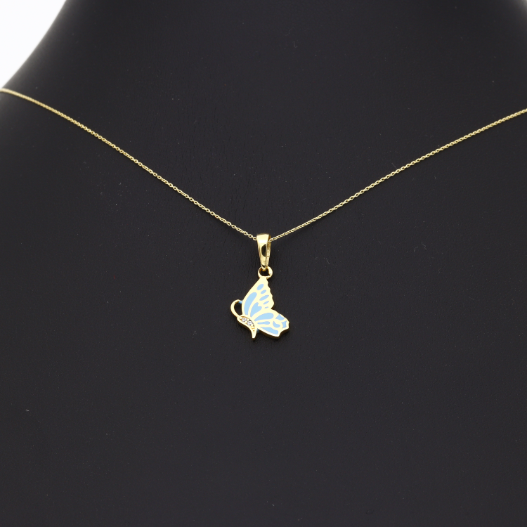 Real Gold Blue Butterfly Necklace N1165
