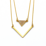 Real Gold Double Triangle Necklace N1169