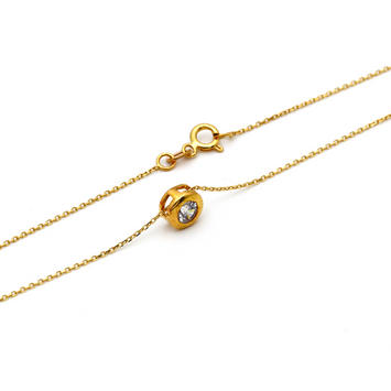 Real Gold Round Stone Frame Necklace N1171