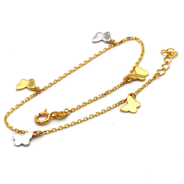 Real Gold 2 Color Rosary Butterfly Adjustable Size Bracelet 5895 BR1226