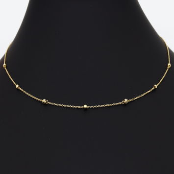 Real Gold Ball Adjustable Size Chain Necklace 5918 CH1074
