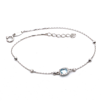 Real Gold Sky Blue Ball Adjustable Size White Gold Bracelet 0026 BR1228