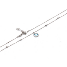 Real Gold Sky Blue Ball White Gold Adjustable Size Necklace 0026 N1176 - 18K Gold Jewelry