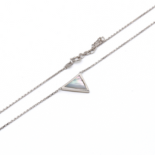 Real Gold Triangle Shell White Gold Adjustable Size Necklace 0895 N1177 - 18K Gold Jewelry