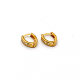 Real Gold Small Curved Stone Earring Set E1553