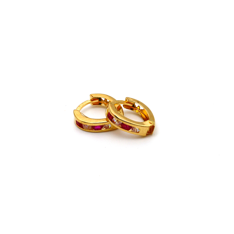 Real Gold Small Oval Red Stone Earring Set E1562